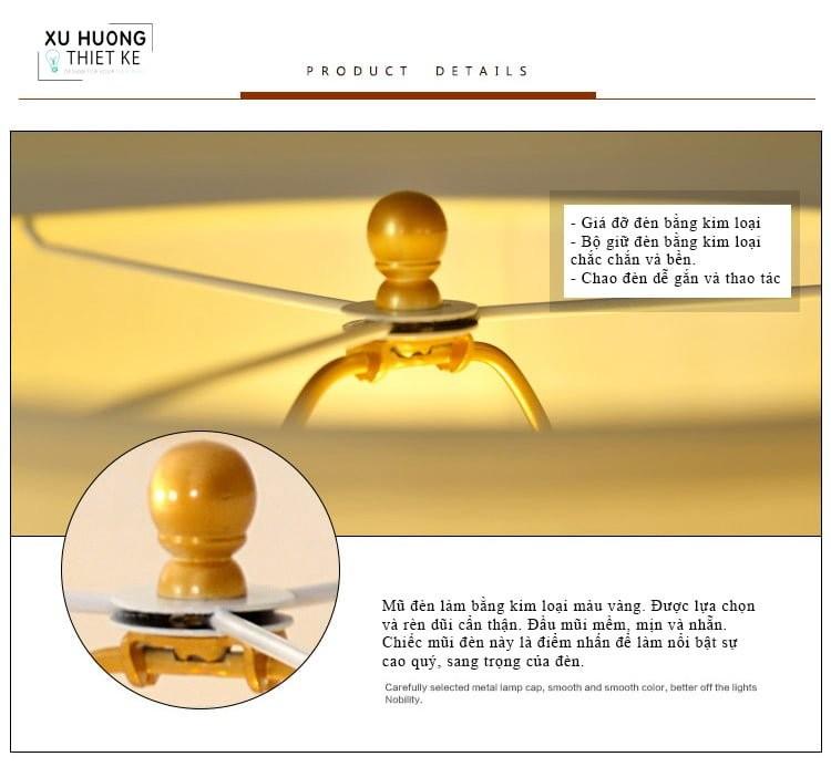 Mũ đèn được thiết kế mạ vàng, chau chuốt tăng thêm nét quý phái cho đèn