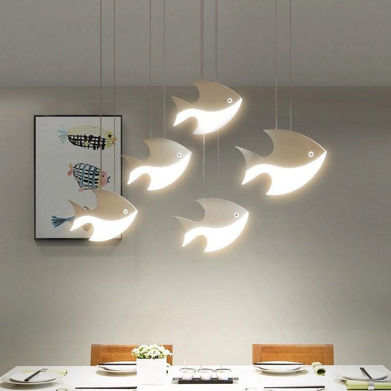Đèn thả trần đàn cá tung tăng (loại 5 cá)