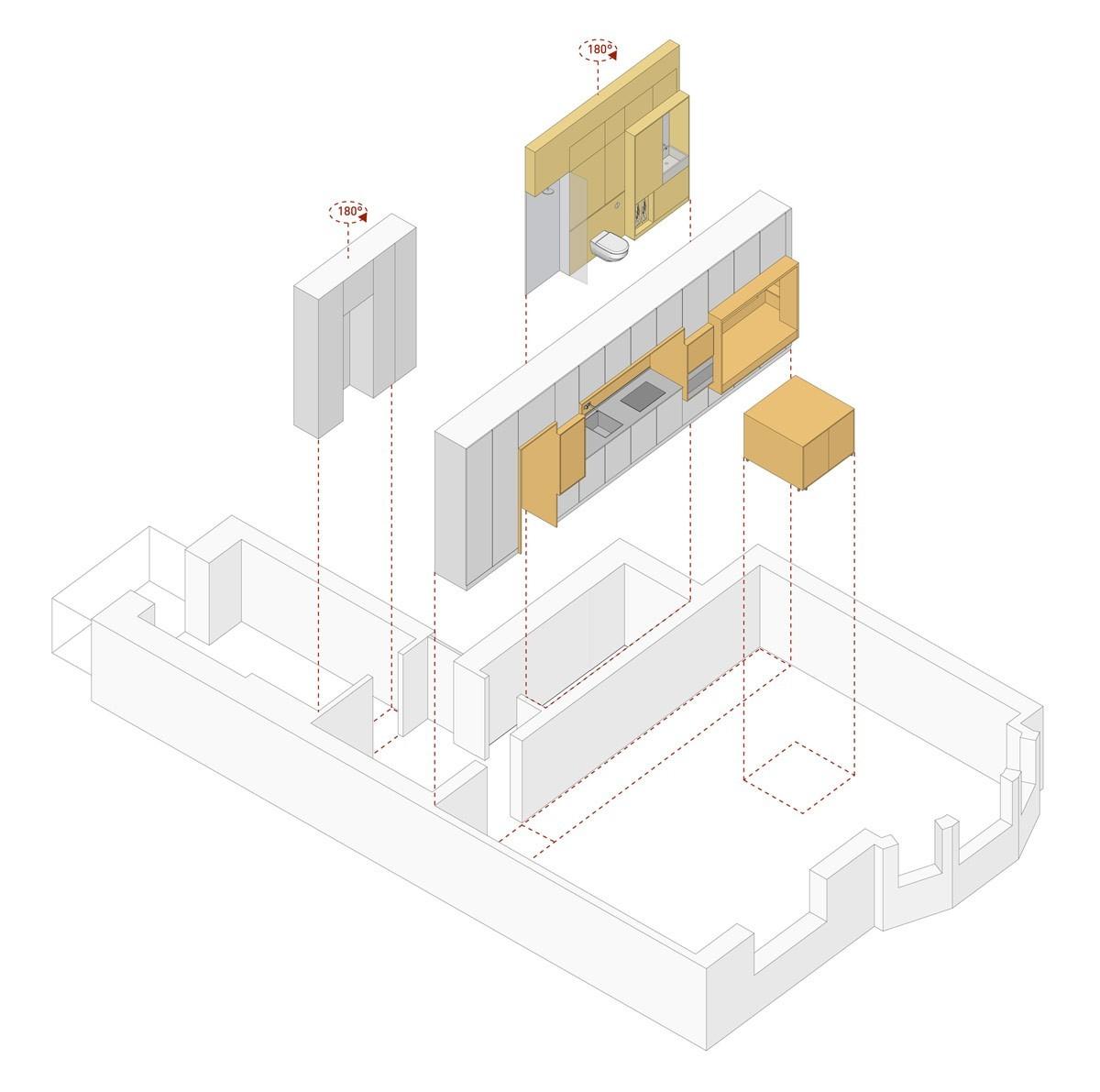 Thiết kế tường chức năng, cộng với đảo bếp có thể định vị lại.