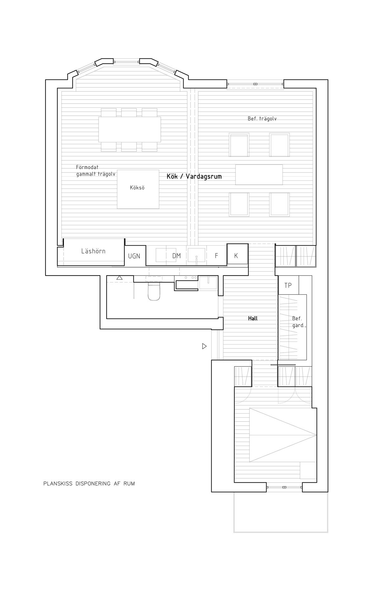 Sơ đồ mặt bằng cho thấy việc sử dụng thực tế của không gian và vị trí của ba bức tường chức năng bespoke