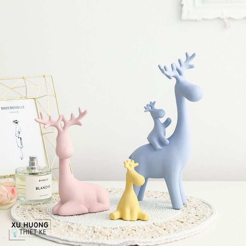 Tượng trang trí Happy Deers cùng gam màu pastel thời thượng