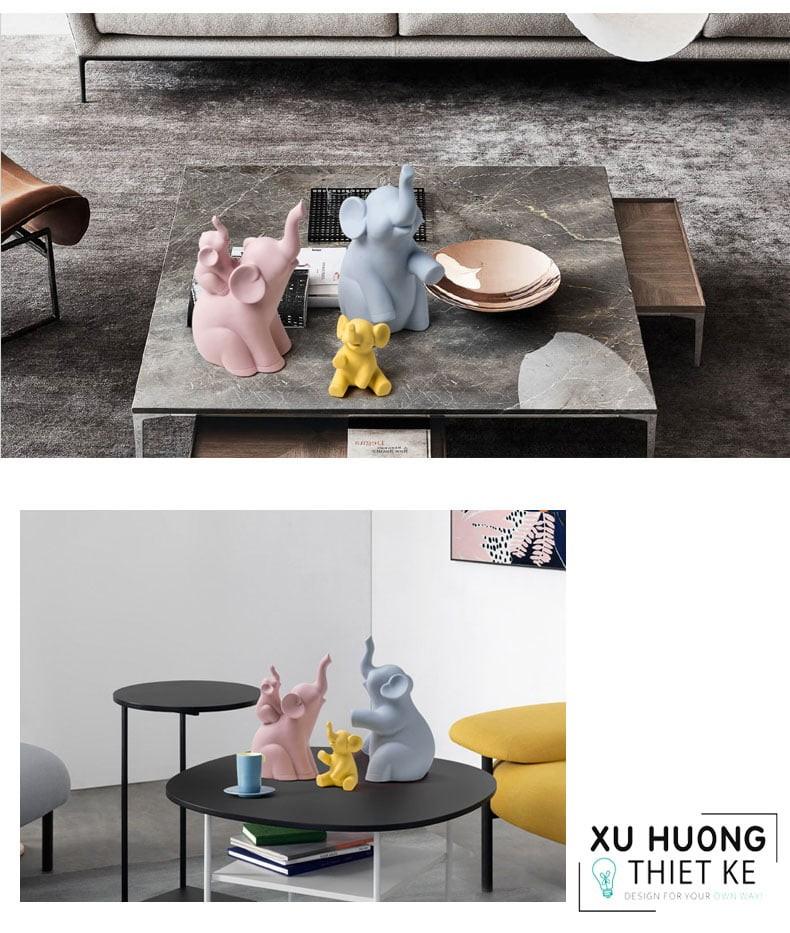 Tượng trang trí Himalai Elephants trong không gian phòng khách