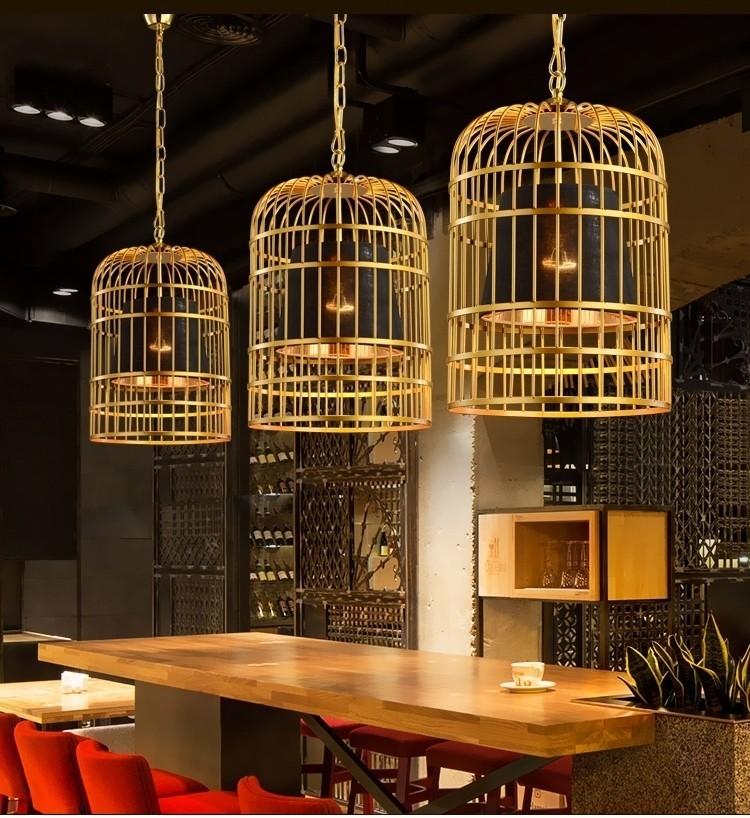Trang trí không gian quán cafe với đèn thả trần Bird Cage