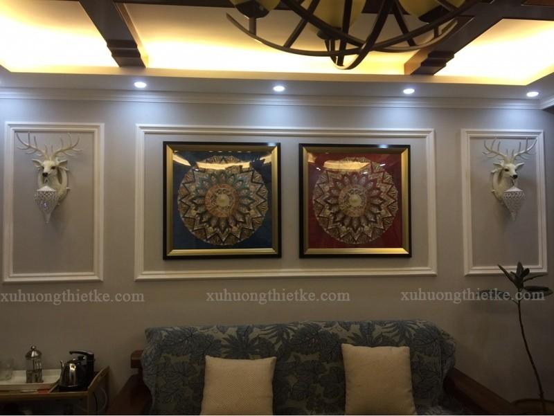 Đèn treo tường Hươu Ladas trong không gian phòng khách nghệ thuật