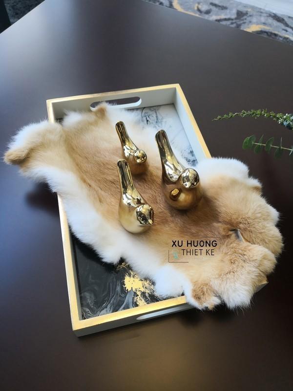 Bộ tượng trang trí chim gốm passer mạ vàng