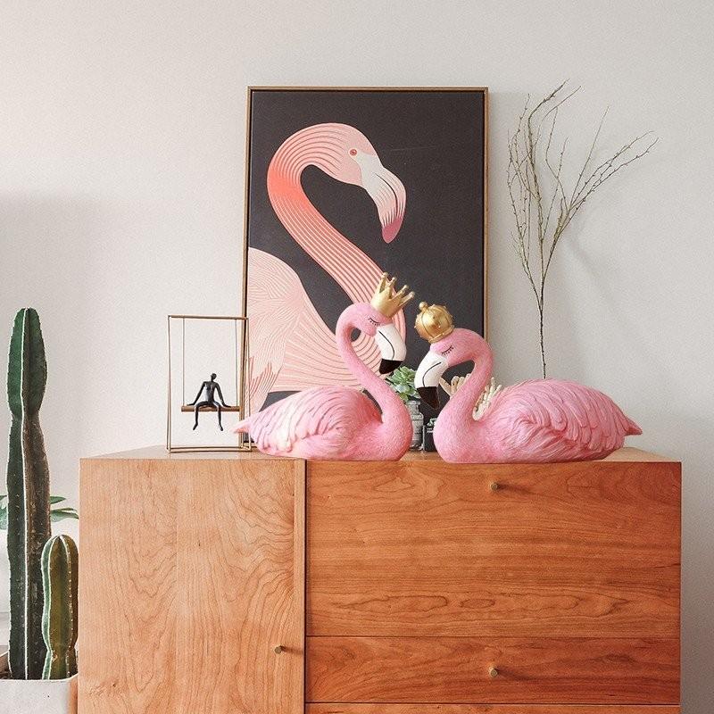 Tượng chim hồng hạc trang trí không gian phòng