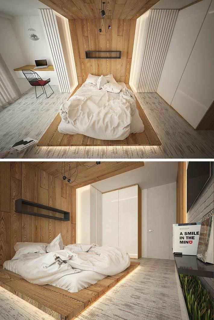 Có rất nhiều cách khác nhau để bạn lắp đặt đèn led cho bộ giường đơn giản của mình. Đặt đèn led bao quanh giường như thế này là một gợi ý hay mà bạn có thể tham khảo.