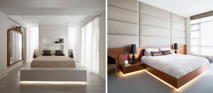 Đèn led được đặt dưới gầm giường vừa không gây chói mắt vừa cung cấp lượng ánh sáng đủ làm đèn ngủ.