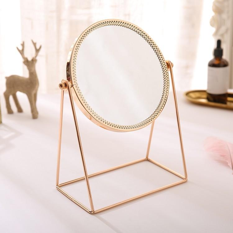 Gương để bàn Circle Golden Mirror màu rose gold