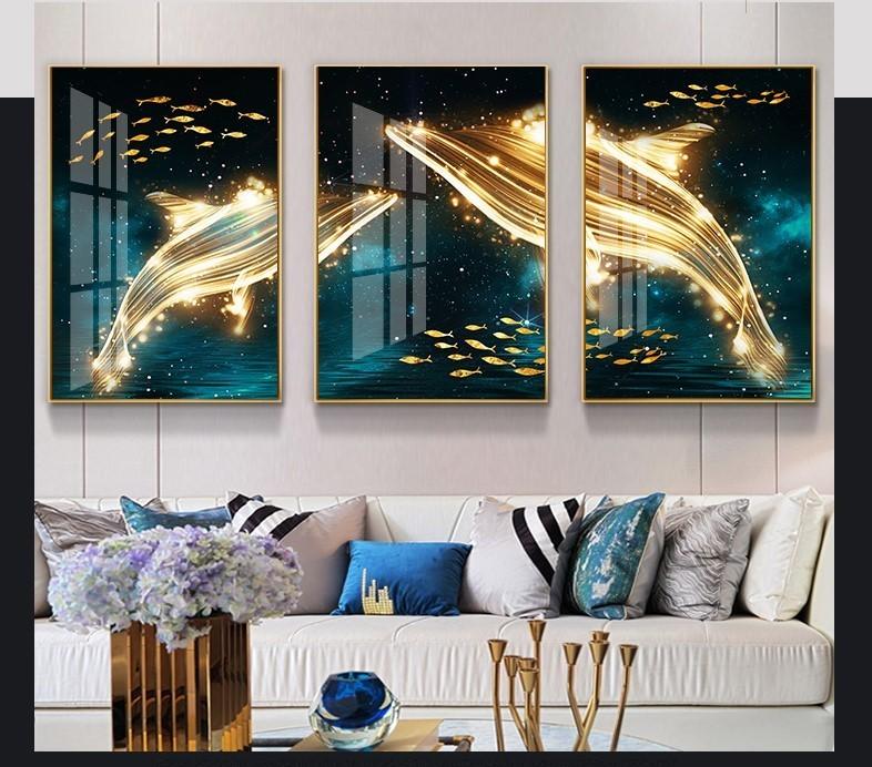 Bộ tranh ghép treo tường cá voi đại lộc