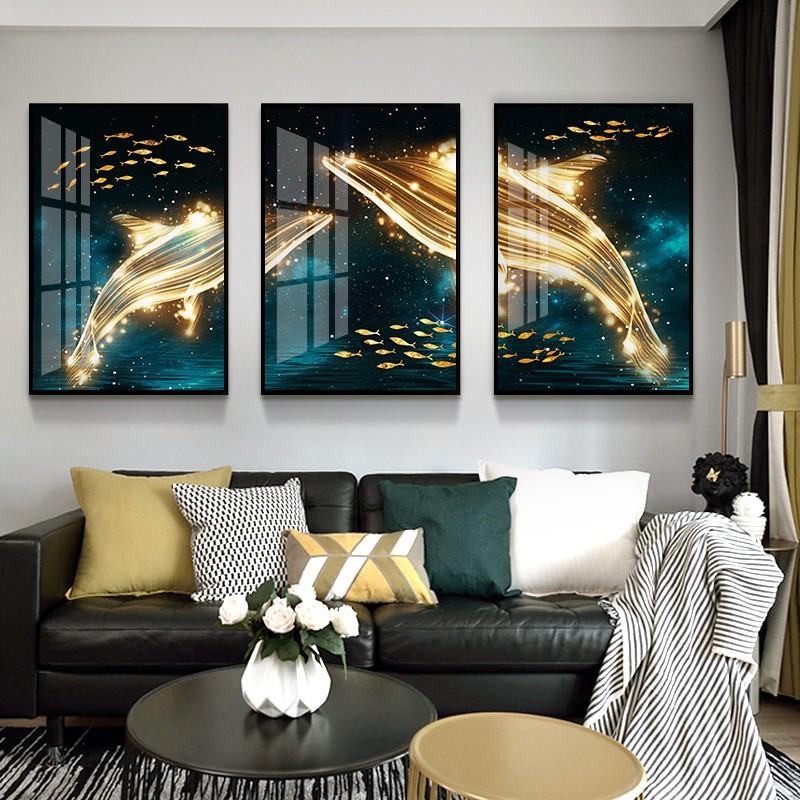 Bộ tranh cá voi đại lộc trang trí phòng khách