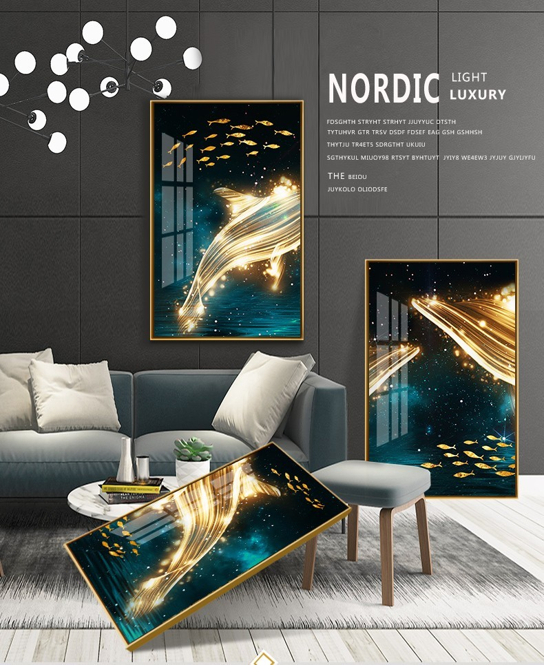 Thiết kế sang trọng và cao cấp của bộ tranh treo tường cá voi đại lộc
