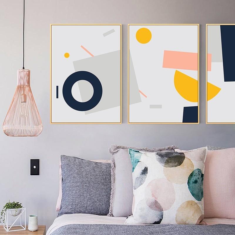 Tranh treo tường từu tượng Pink Pastel trang trí phòng ngủ
