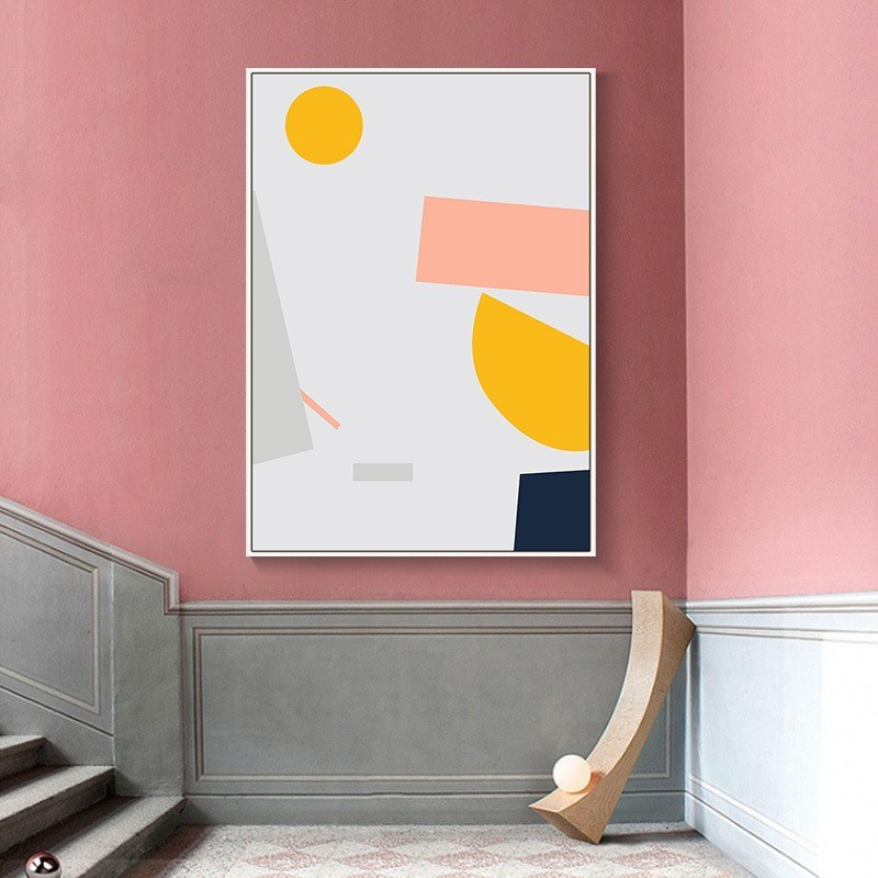 Tranh treo tường từu tượng Pink Pastel trang trí chân cầu thang