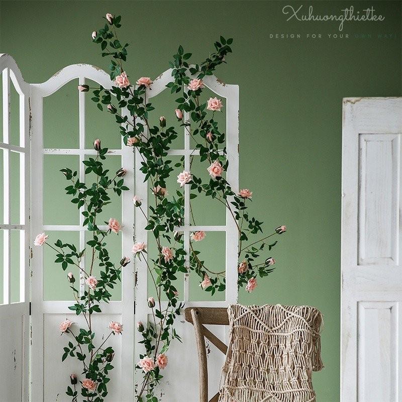 Dây hoa hồng leo Pháp - phụ kiện trang trí shop, studio ngọt ngào