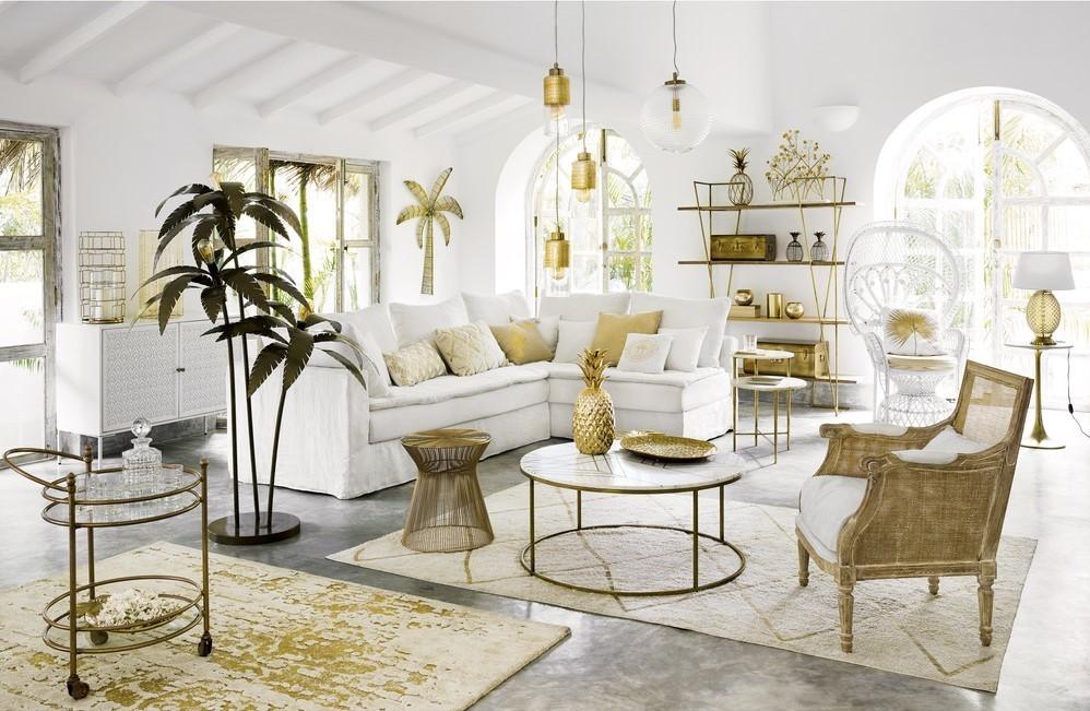 Đèn cây đứng Plamier trong trang trí không gian phòng khách theo phong cách Tropical