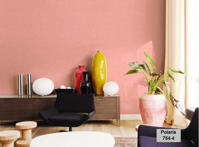 Giấy dán tường màu hồng trang trí quán cafe