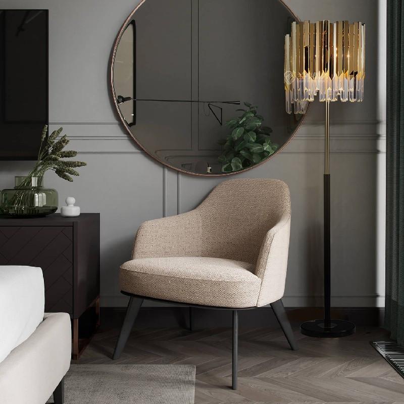 Đèn cây cao cấp làm từ pha lê và đá cho không gian phòng khách