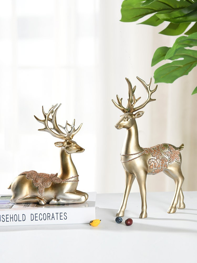 Tượng hươu hemia Yellow Deer trang trí