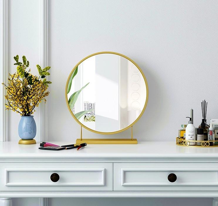 Gương tròn để bàn đèn led trang điểm