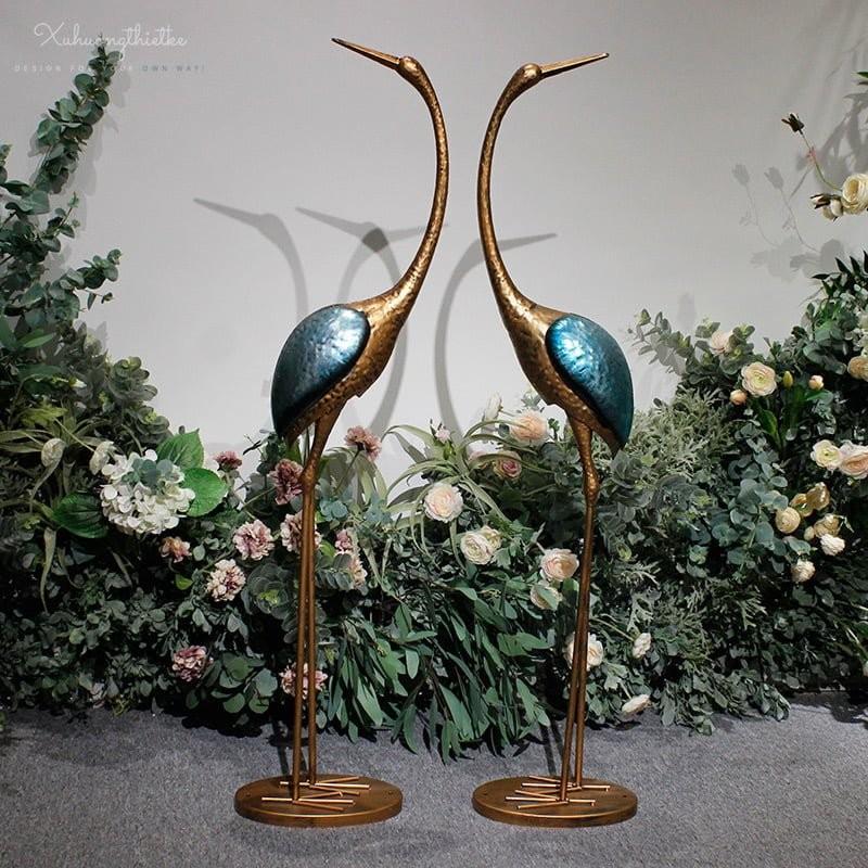 Bộ tượng chim hạc trang trí tiểu cảnh