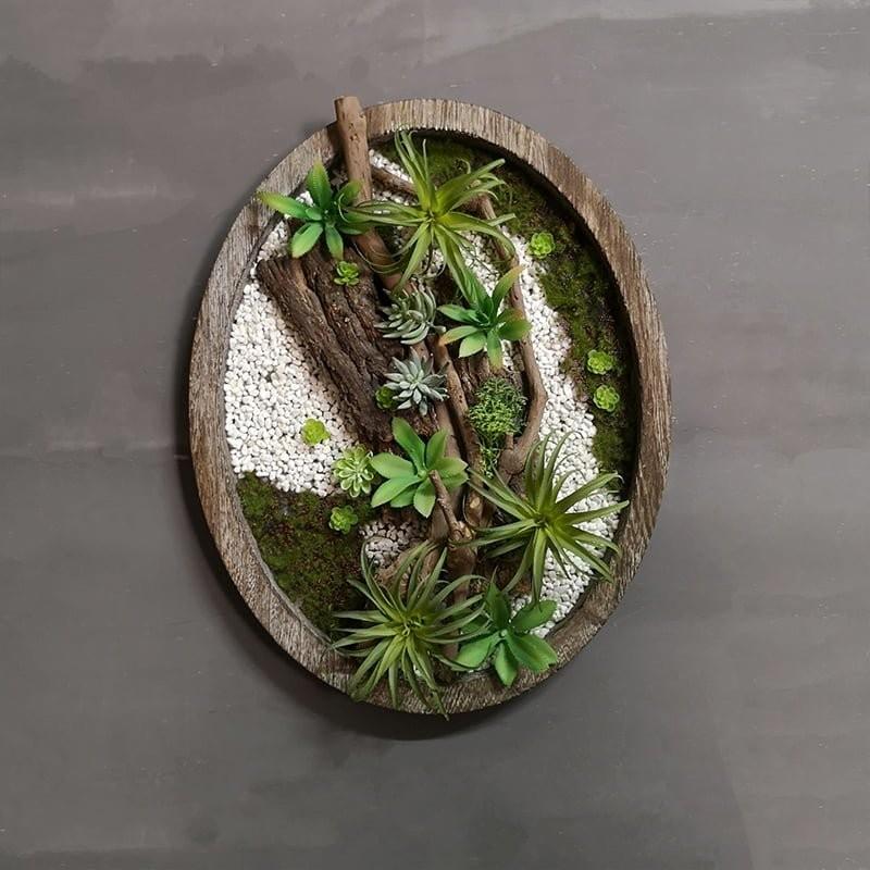 Vòng hoa gỗ vintage trang trí