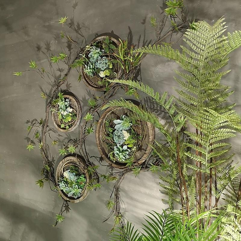 Combo 4 vòng hoa gỗ vintage kèm dây leo trang trí