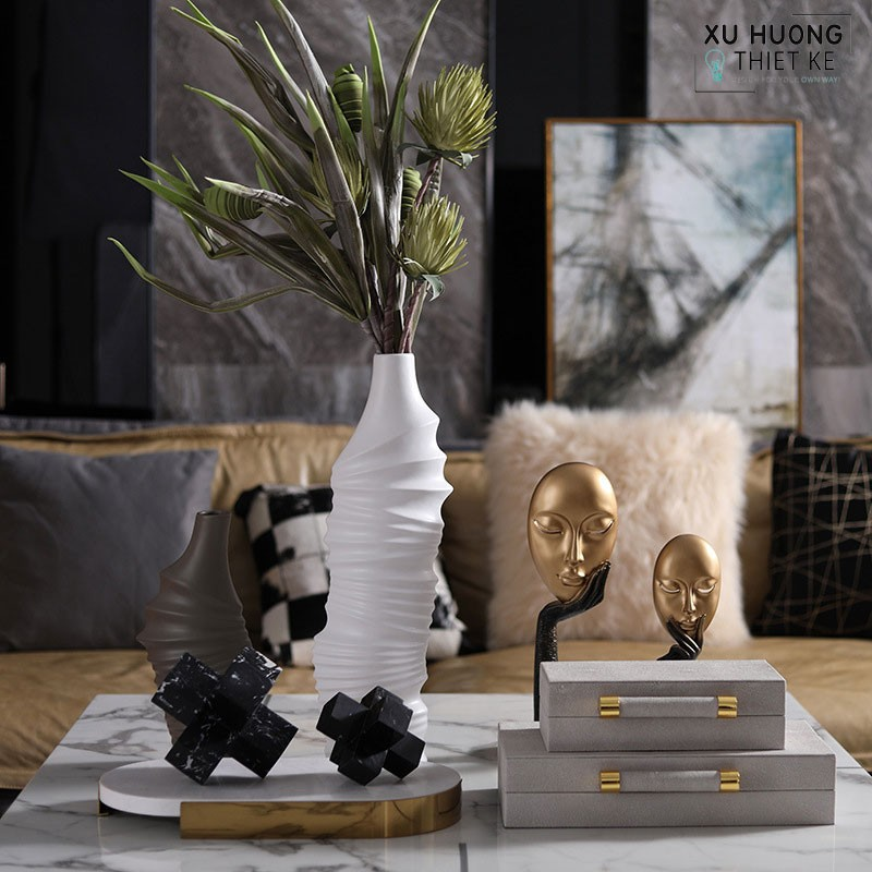Bộ tượng trang trí nghệ thuật Art Rilom phối cảnh trang trí không gian nhà cửa
