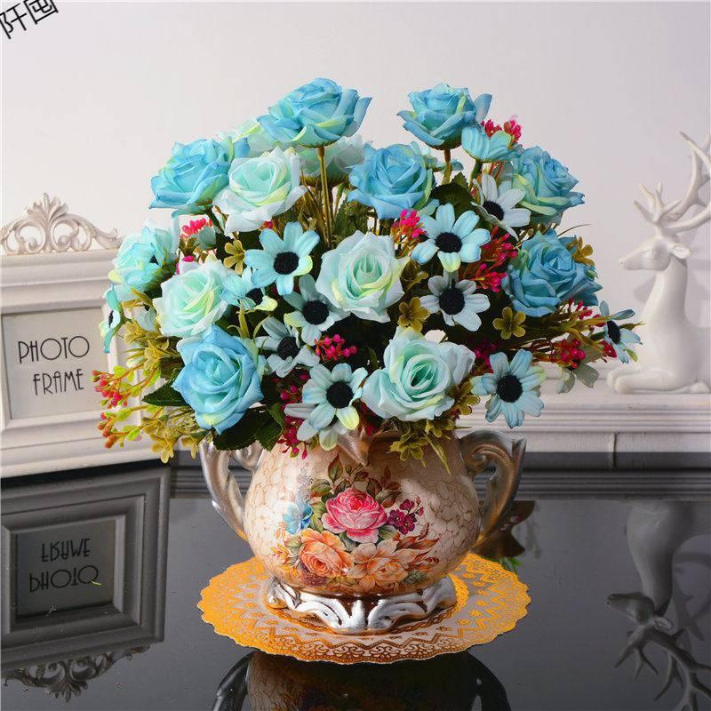 Bình hoa cắm sẵn cúc & hồng xanh (BHCS16)