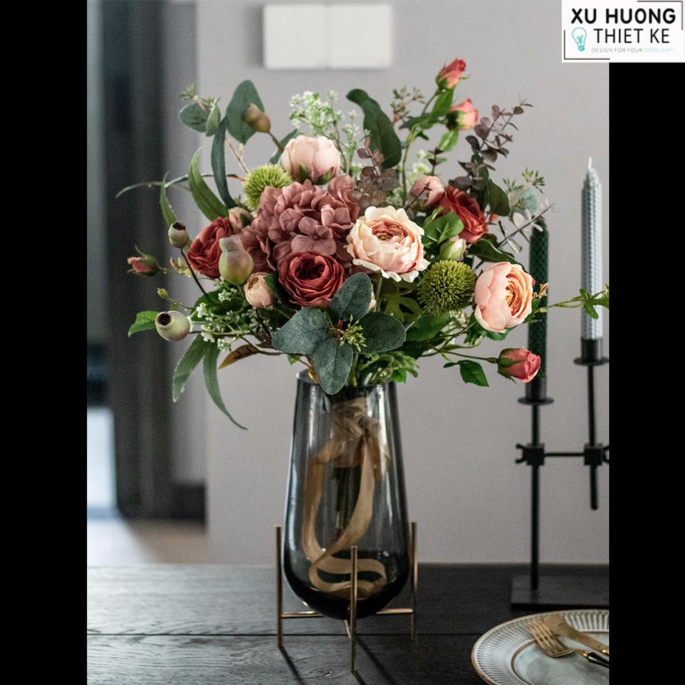 Bình hoa hồng lụa (BHCS09)